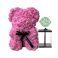 """Speverdr 10 Inch Rose Teddy Bear with Box Artificial Flowers 10"""" Red Rose Flower Bear Gift for Women, Birthday, Valentine's Day, Mother's Day, Anniversary-Pink"""