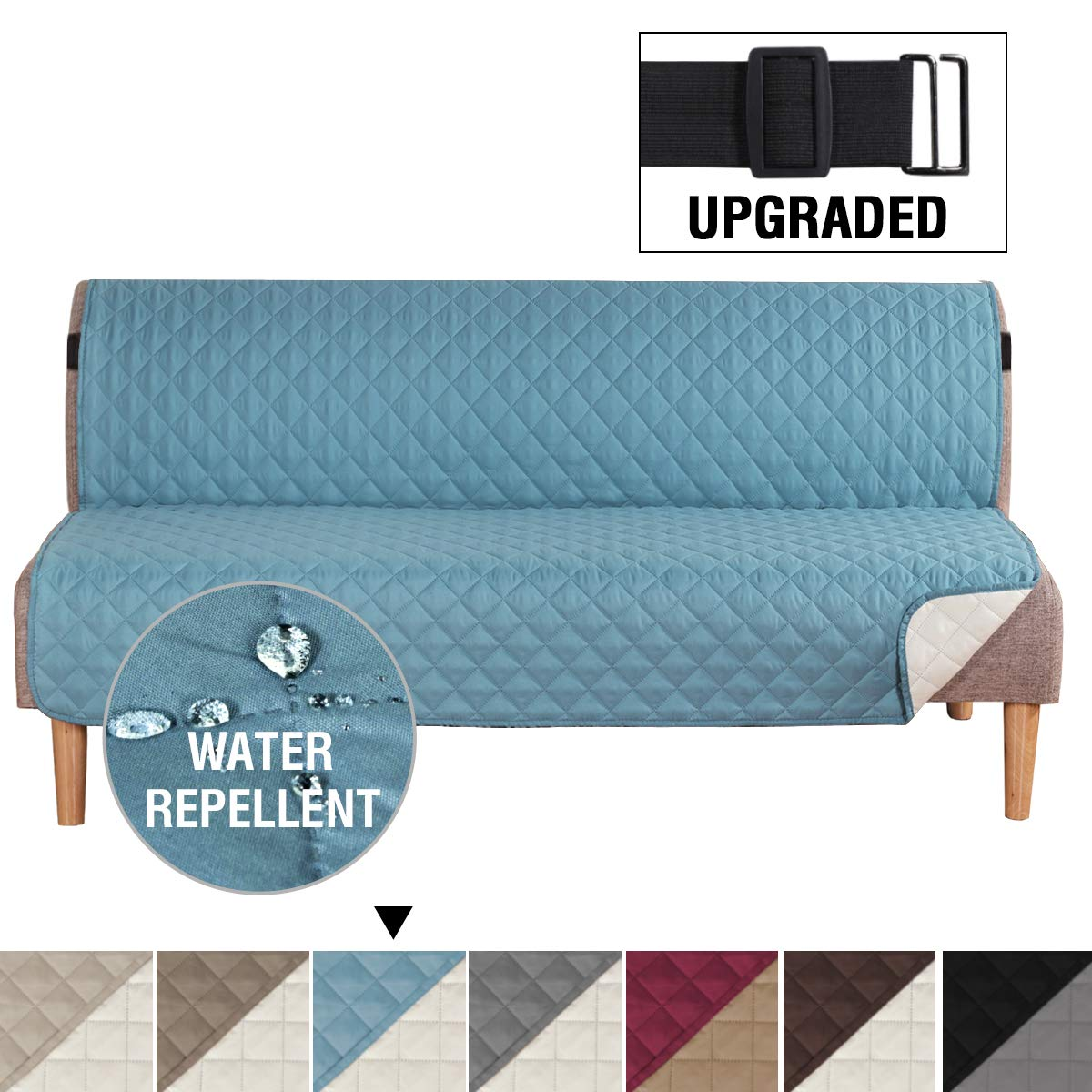 """H.VERSAILTEX Reversible Futon Slipcover Seat Width Up to 70"""" Washable Furniture Protector Water Repellent Futon Cover for Living Room 2"""" Elastic Strap Anti-Slip Futon Cover for Dogs Smoke Blue/Beige"""
