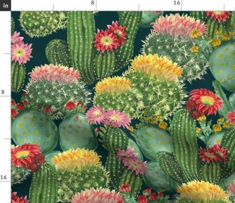 Spoonflower Fabric - Cacti, Tropical, Cactus, Flowers, Watercolor, Botanical, Floral, Printed on Fleece Fabric by The Yard - Sewing Blankets Loungewear and No-Sew Projects