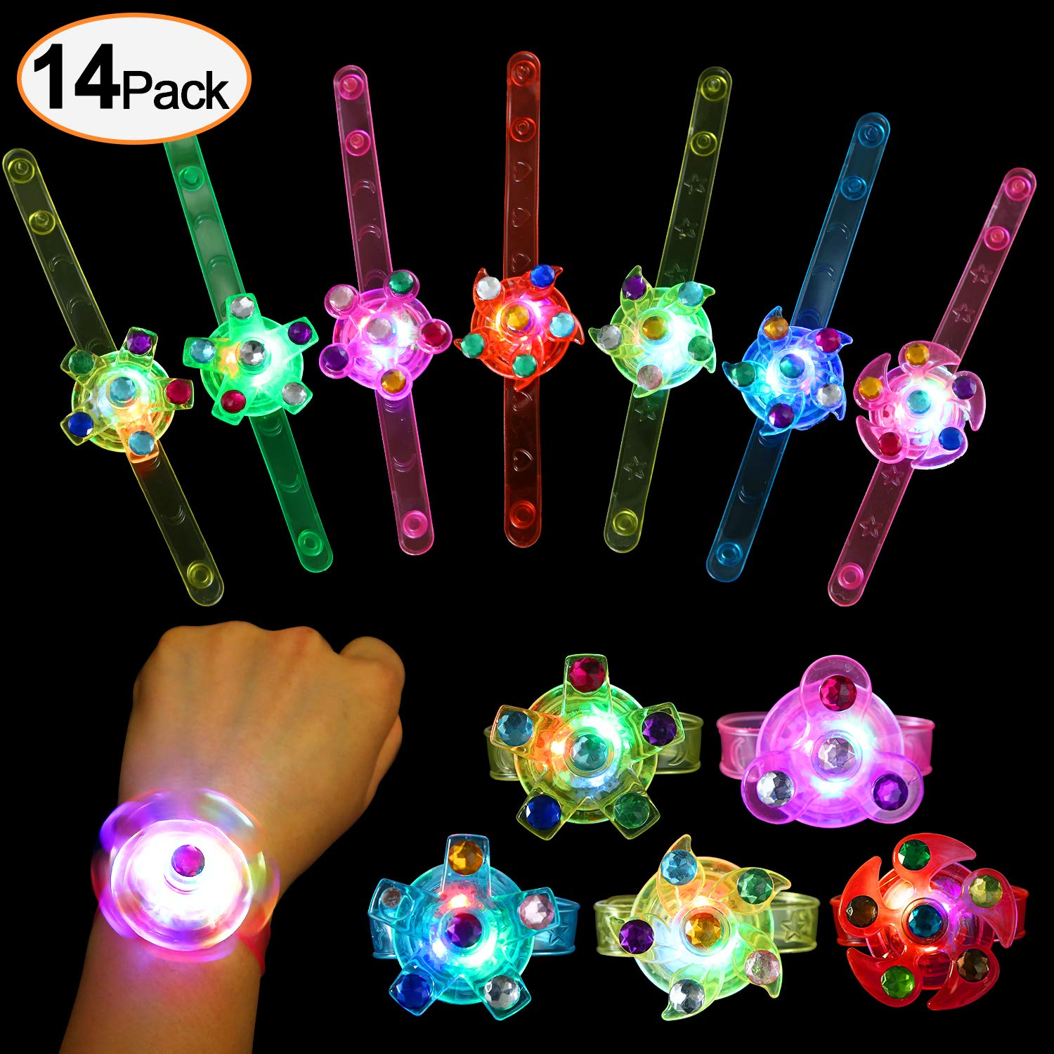 wellvo Party Favors for Kids 14 Pack Light Up Bracelets Glow in The Dark Party Supplies Girls Boys Kid Birthday Goodie Bags Return Gifts Halloween Christmas Party Favor LED Toys Bulk