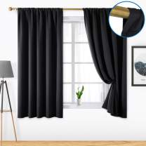 HOMEIDEAS 2 Panels Black Blackout Curtains Pocket Curtains for Bedroom, 52 x 63 Inch Room Darkening Curtains, Thermal Insulated Window Treatment Curtains/Drapes for Living Room/Kitchen