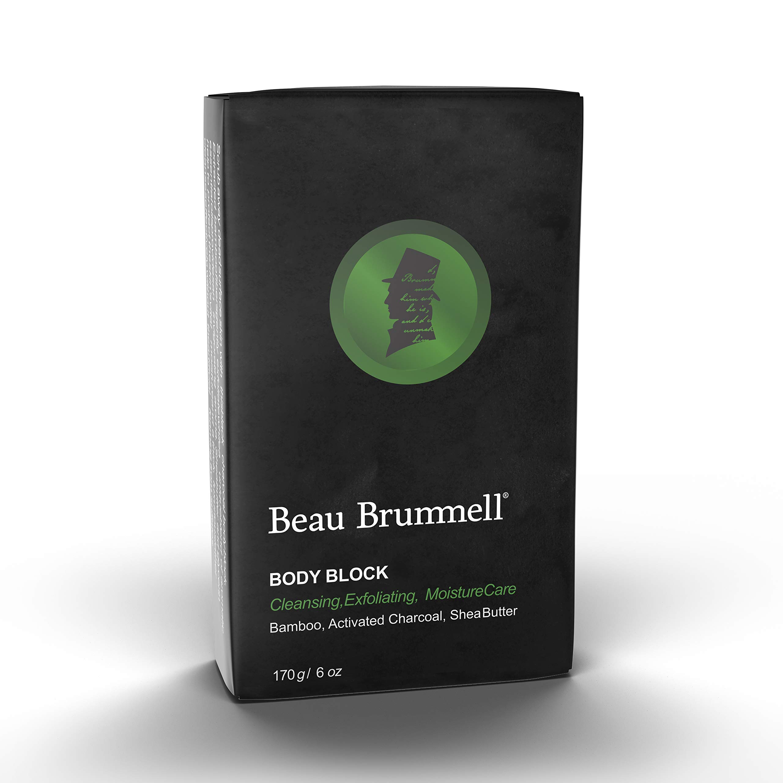 Body Soap Bar for Men by beau Brummell | Naturally Exfoliating Scrubbing Bar Soap With Activated Charcoal & Bamboo Powder | Oversized 6 OZ Bar (1-pack)