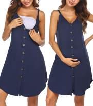 Ekouaer Nursing Nightgown Women's Maternity Dress Button Down Nightdress Sleeveless Breastfeeding Sleepwear Hospital Gown