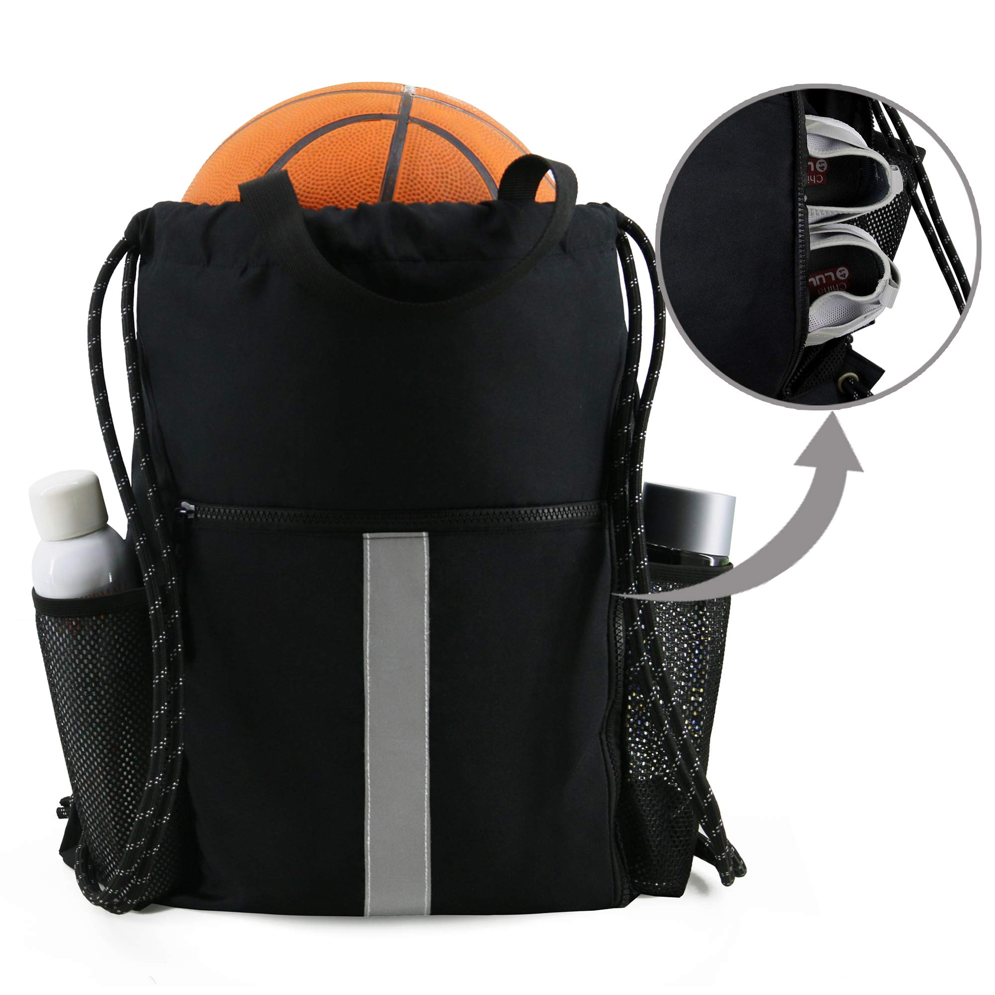Gym-Drawstring-Bag-Backpack with Shoe Compartment and Two Water Bottle Holder for Men Women Large String Backpack Sports Bag Athletic Sackpack for School