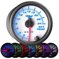 """GlowShift White 7 Color 2400 F Pyrometer Exhaust Gas Temperature EGT Gauge Kit - Includes Type K Probe - White Dial - Clear Lens - for Car & Truck - 2-1/16"""" 52mm"""