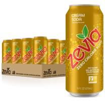 Zevia Cream Soda, Zero Calorie or Sugar, Naturally Sweetened, Carbonated Soda, Refreshing, Flavorful, & Tasty, 16 Fl Oz, Pack of 12