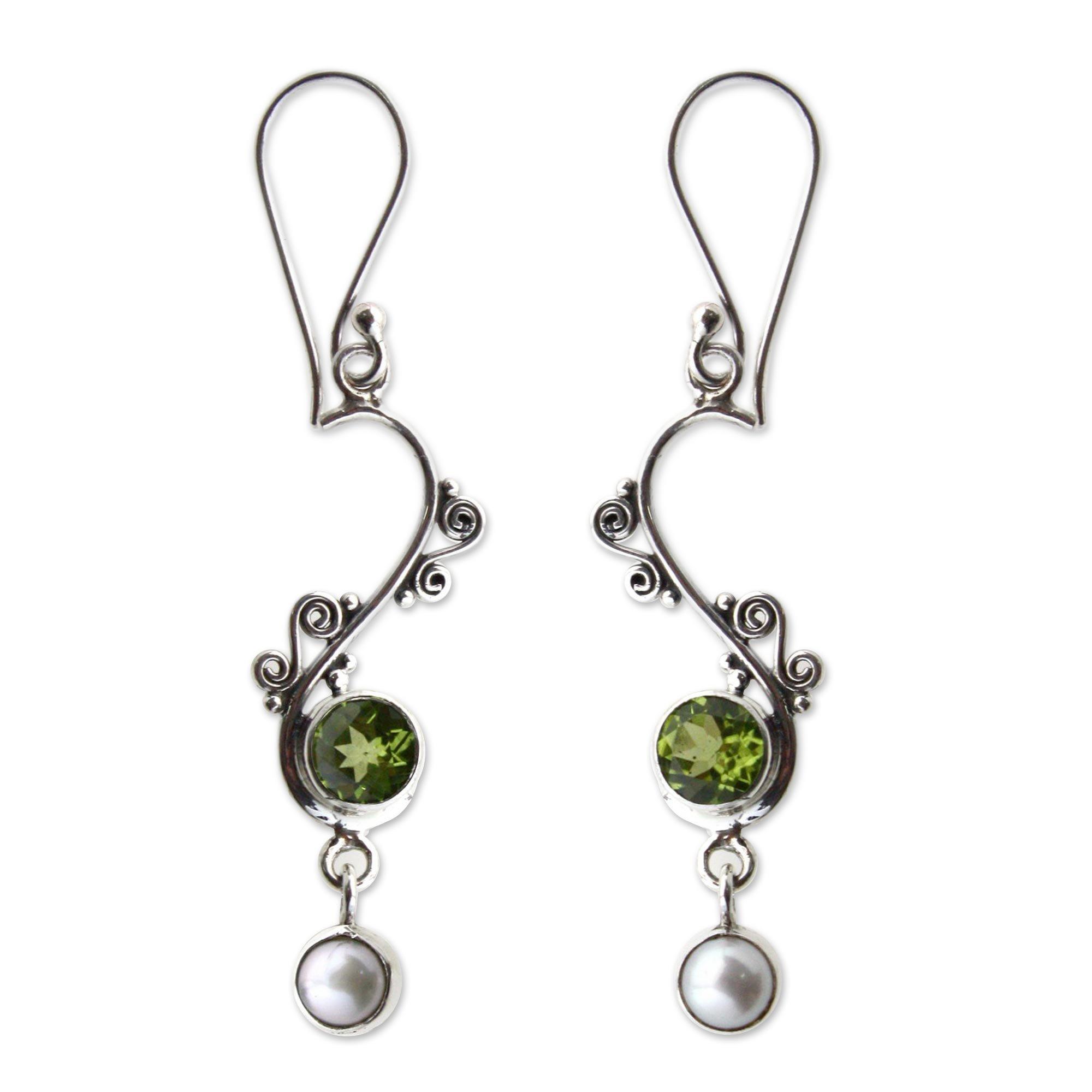NOVICA Peridot White Cultured Freshwater Pearl .925 Sterling Silver Dangle Earrings 'Graceful'