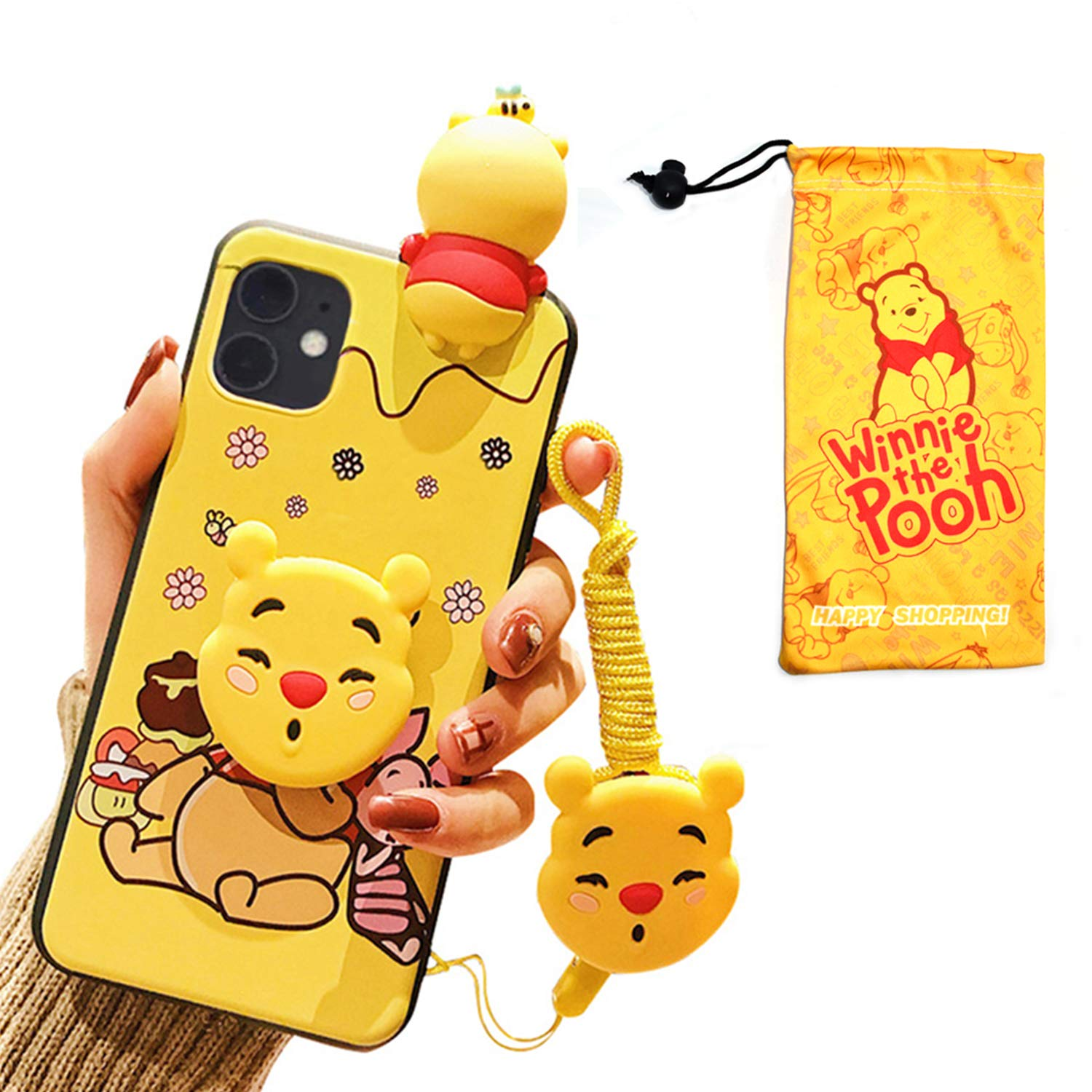 VANVENE Winnie Pooh Bear iPhone 11 Pro Max Case, Cute Cartoon 3D Animal Character Silicone Protective iPhone 11 Pro Max Cover Case for Kids Girl Boys Teens 6.5 Inch