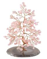 "CrystalTears Natural Rose Quartz Crystal Bonsai Money Tree w/Agate Slice Base Figurine for Wealth Good Luck Spiritual Gift Home Decor 5.5""-6.3"""
