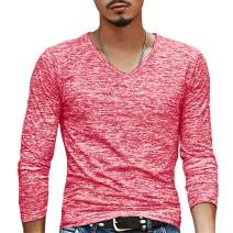 Makkrom Mens Basic Slim Fit Long Sleeve T-Shirts V Neck Hipster Hip Hop Cotton Plain Casual Jersey Shirt