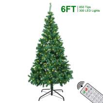 Artificial Christmas Trees - 6Ft Xmas Detachable Tree with 850 Unique Pine Spruce Tips - Fake Christmas Tree with UL Certified DIY 300 LED Lights 12 Lighting Modes for Holiday Decoration