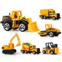 Jenilily Die Cast Construction Trucks Toys, Friction Powered Engineering Excavator Toy Cars, Pocket Size Cake Toppers Vehicles Playset, Early Educational Toy for 3+ Years Old Kids Boys Girls Gifts