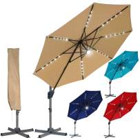 Blissun 10ft Offset Umbrella with 36 Solar LED Lights, Hanging Lighted Patio Umbrella, Outdoor Cantilever Umbrella, Outside Solar Umbrella with Easy Tilt for Garden, Backyard, Patio, Pool, Tan