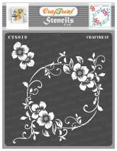 CrafTreat Flourish Stencils for Painting on Wood, Canvas, Paper, Fabric, Floor, Wall and Tile - Flourish Circle - 6x6 Inches - Reusable DIY Art and Craft Stencils for Home Décor - Flower Stencils