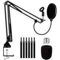 """Heavy Duty Microphone Arm Stand, Adjustable Suspension Boom Scissor Mic Stand with Dual Layered Mic Pop Filter, 3/8"""" to 5/8"""" Screw Adapter Clip for Blue Yeti Snowball, Yeti Nano, Yeti x and other Mic"""