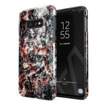 BURGA Phone Case Compatible with Samsung Galaxy S10E Volcano Island Lava Fire Black Marble Cute for Woman Heavy Duty Shockproof Dual Layer Hard Shell + Silicone Protective Cover