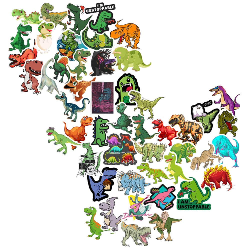 Stickers for Kids Cool Dinosuars Cute Cartoon Decals 50Pcs, SSONTONG Waterproof Snow Protection Vinyl Sticker Toddlers Boys Teens Adults Hydroflasks Laptop Water Bottles Stationery Motorcycle