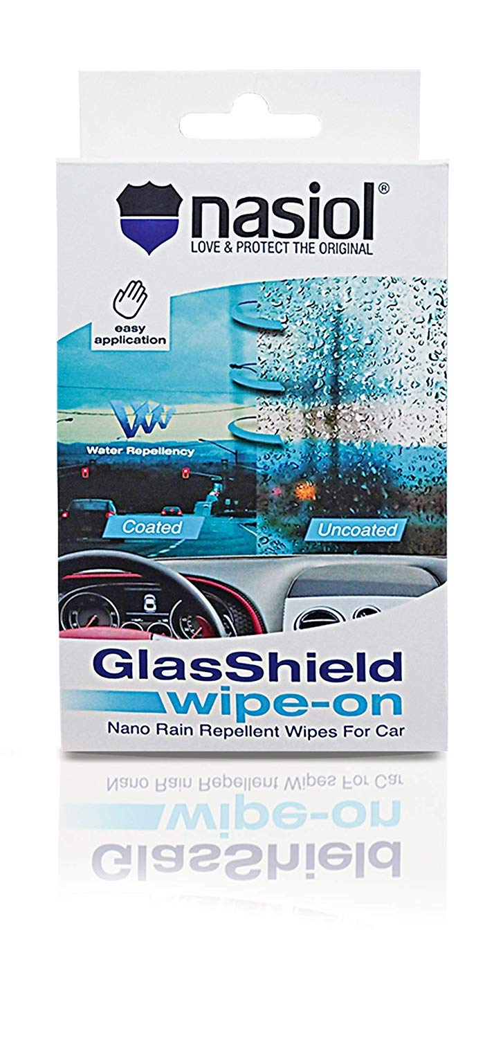Nasiol GlasShield Wipe-On Easy to Apply Rain Repellent Wipes for Automobile Windshield