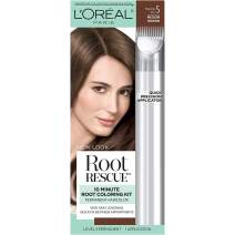 L'Oreal Paris Magic Root Rescue 10 Minute Root Hair Coloring Kit, Permanent Hair Color with Quick Precision Applicator, 100% Gray Coverage, 5 Medium Brown, 1 kit