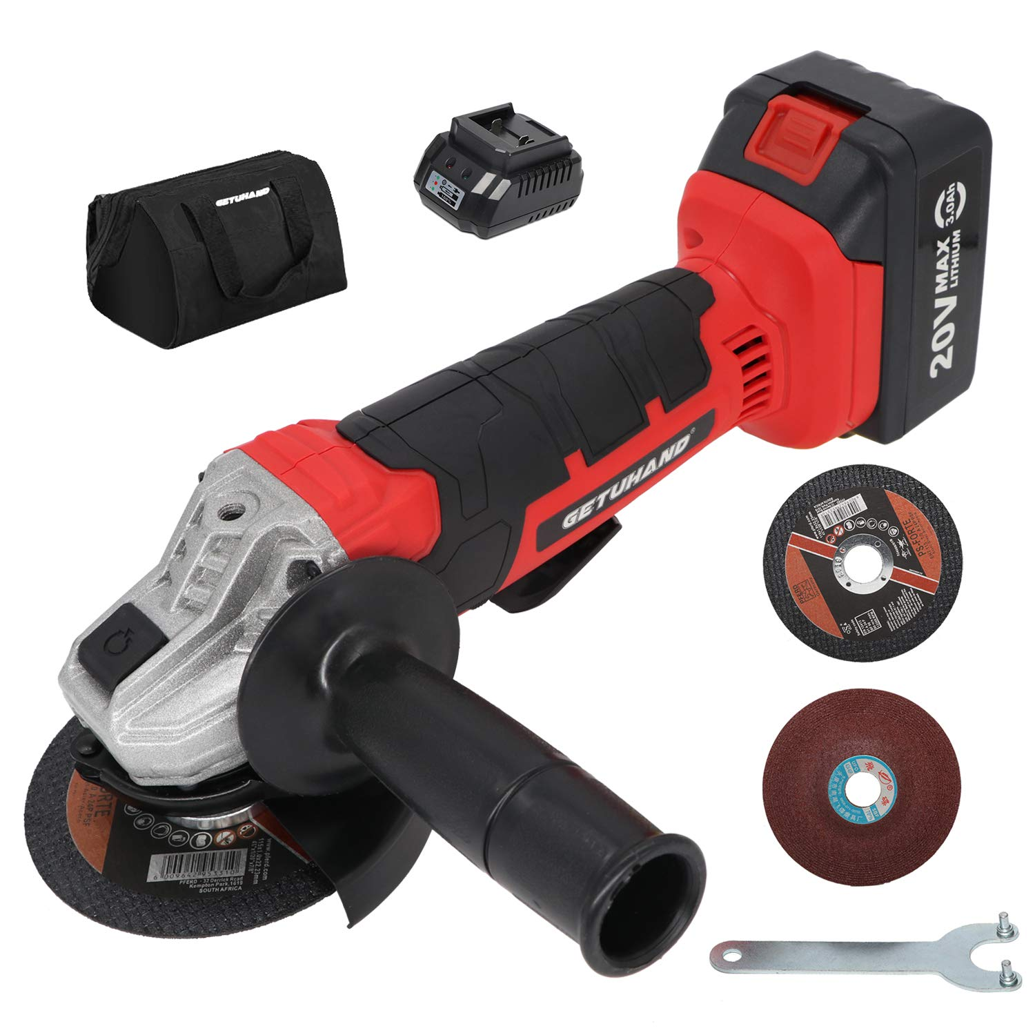 """GETUHAND 20V 4-1/2""""Cordless Angle Grinder, Power Angle Grinder Kit with 3.0Ah Li-Ion Battery and Fast Charger, 3-Position Adjustable Auxiliary Handle, Tool Case,Cutting Wheel,Grinding Wheel"""