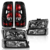 DWVO Compatible with 2003-2006 Chevy Silverado 1500 2500 3500/2007 Silverado Classic Black Housing Headlight Assembly + Clear Lens Taillights Combo Set