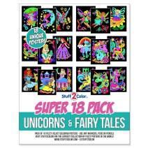 Super Pack of 18 Fuzzy Coloring Posters (Unicorns & Fairy Tales Edition) - Arts & Crafts for Girls and Boys - Great for After School, Travel, Planes, Group Activities, and Coloring with Friends