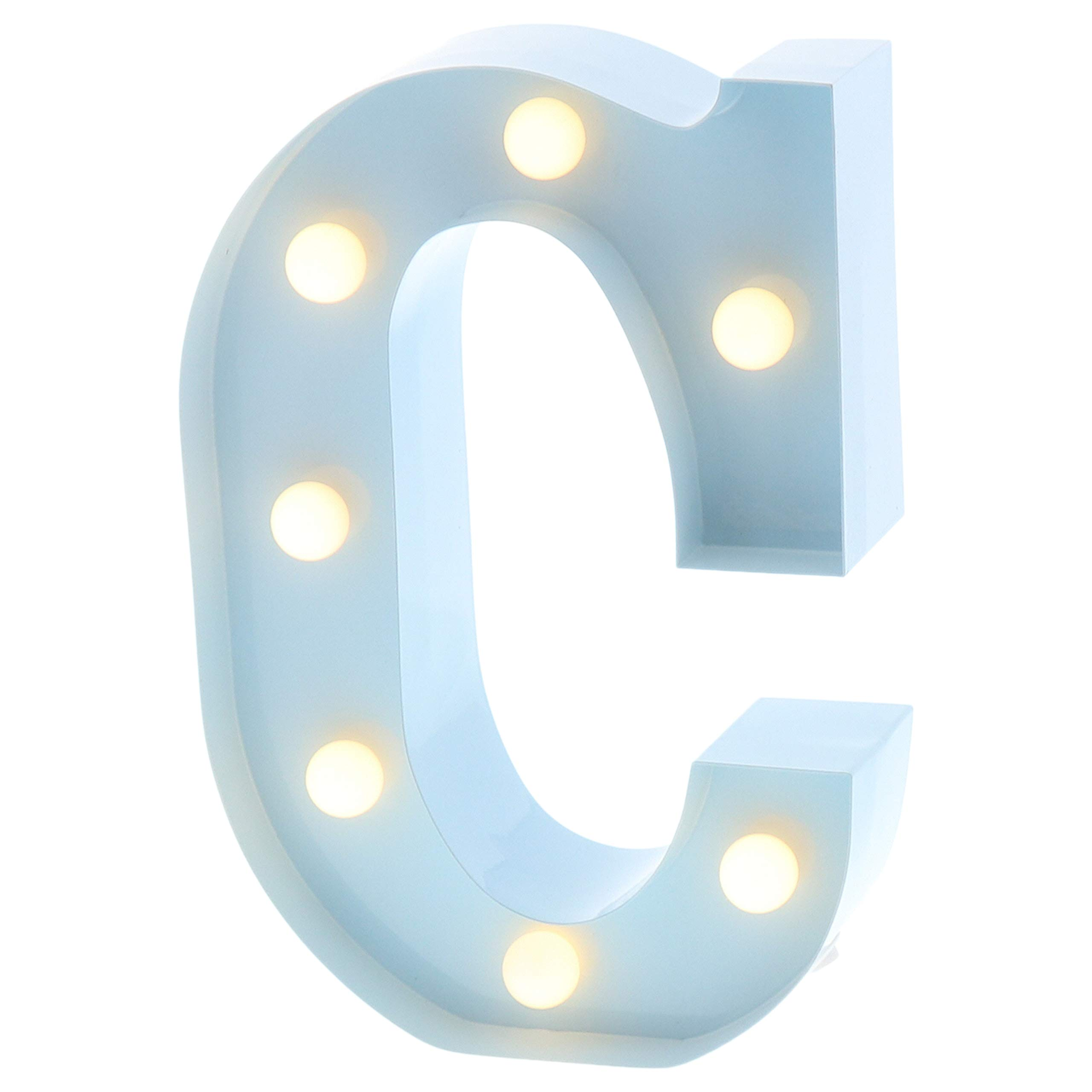 """Barnyard Designs Metal Marquee Letter Flat C Light Up Wall Initial Nursery Letter, Home and Event Decoration 9"""" (Baby Blue)"""