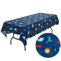 UOMNY Tablecloths Cotton Cartoon Style Blue Lion Table Cloth Kitchen Rectangular Table Cover Home Hotel Dining Room Kitchen Rectangular Decorated Tablecloths Cafe Tablecloth,60X84 Inch