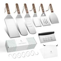 Soulhand 8pcs Griddle Accessories Kit Professional Stainless Steel, Exclusive Griddle Tools Long/Short Spatulas Set, for Camping Tailgating Outdoor BBQ,6 x S Hooks, Multipurpose Flip Fork