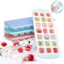 3 Pack Ice Cube Trays, 63 IceCubeMaker, Baby Food Grade Silicone Ice Cube Holder Molds with Easy-Release Lids, Flexible IceTray Stackable for Whiskey, Chilled Drinks, Ice Cream and Cocktails