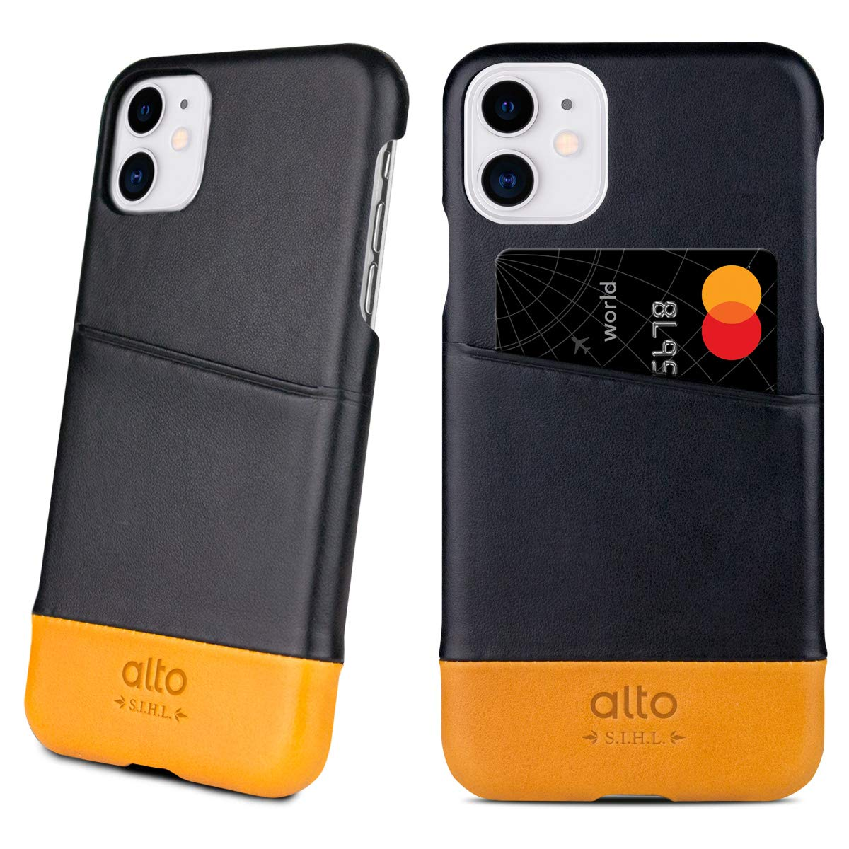 Alto Metro Phone Case for iPhone 11 (6.1 inch), Premium Handmade Italian Leather Wallet Case with Card Holder Design (Raven Black'/Caramel)