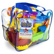 Sol Coastal 18-Piece Bodacious Beach Bum Activity Pack - Sand Castle Molds & Tools in Handy Carry Bag with Quick-Dry Mesh Bottom