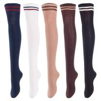 Lovely Annie Women's 5 Pairs Over Knee High Thigh High Cotton Socks Size 6-9 A1023