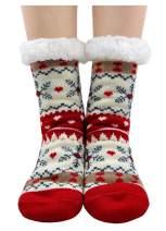 Womens Girls Fuzzy Winter Cartoon Animal Cute Fleece-lined Slipper Socks