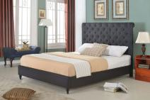 """Home Life Cloth Black Linen 51"""" Tall Headboard Platform Bed with Slats Queen - Complete Bed 5 Year Warranty Included 008"""