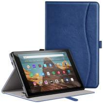 ZtotopCase for All-New Fire HD 10 Tablet Case (2019/2017,9th/7th Gen) - Ultra Thin PU Leather Multi Angle Folding Case with Auto Wake/Sleep Function - Navy Blue