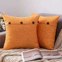 MIULEE Set of 2 Decorative Linen Throw Pillow Covers Cushion Case Triple Button Vintage Farmhouse Pillowcase for Couch Sofa Bed 24 x 24 Inch Bright Orange