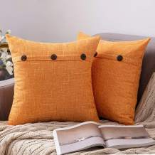 MIULEE Set of 2 Decorative Linen Throw Pillow Covers Cushion Case Triple Button Vintage Farmhouse Pillowcase for Couch Sofa Bed 20 x 20 Inch Bright Orange