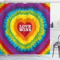 """Ambesonne Pride Shower Curtain, Love Wins Celebration Tie Dye Digital Print Backdrop and Rainbow Colors Happiness, Cloth Fabric Bathroom Decor Set with Hooks, 84"""" Long Extra, Rainbow Tones"""