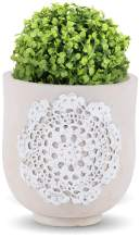 INSPIRELLA Modern Flower Pot Indoor Planter - 5 inch, Glazed Cement, Decorative Plant Pots for Indoor and Outdoor Display of Succulents and Shrubs, Arabesque Pattern