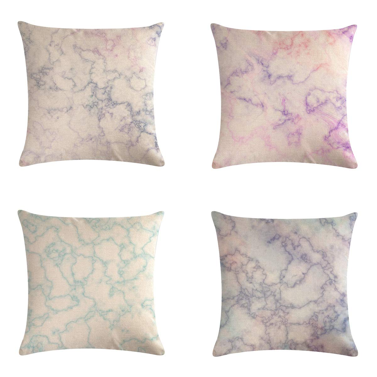 XIECCX Throw Pillow Covers Modern Marble Pattern Simple Nordic Style Decorative Pillowcases 4 Pack- Linen Cotton Cushion for Sofa,Bedroom,Chair,Car Seat,Farmhouse 18 x 18