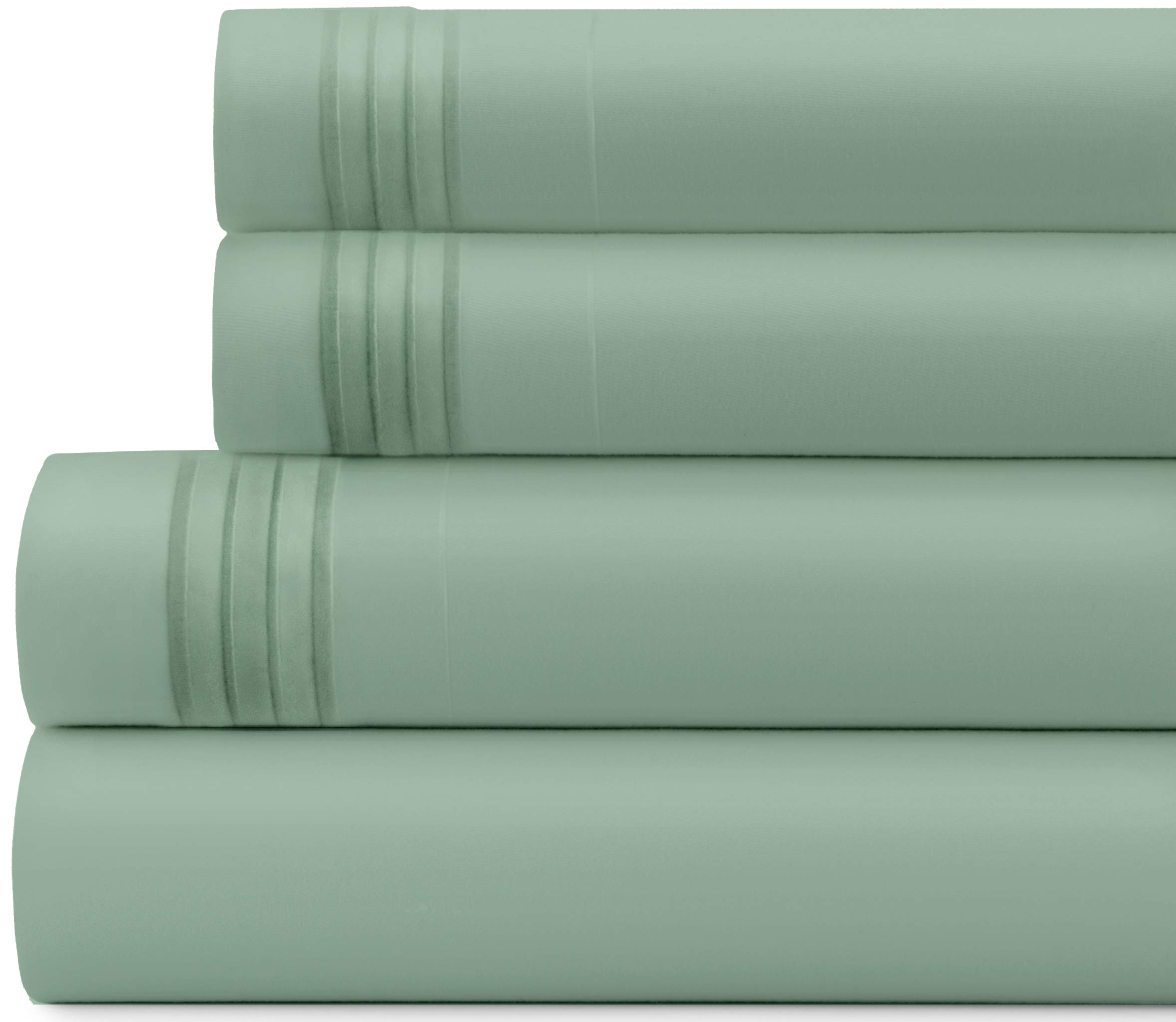 Briarwood Home Bed Sheet Set – Brushed Microfiber 1900 Premium Quality Soft Fabric Breathable Bedding – Deep Pocket – Wrinkle, Fade & Shrinkage Resistant 3 Piece Sheets (Twin-XL/Sage)