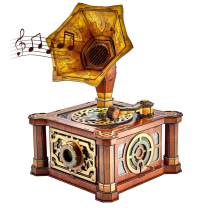 CubicFun 3D Puzzles Music Box for Adults Vintage Gramophone Handcrank Cardboard Model Kits, Home Decoration and Mothers Day Craft Gifts for Women and Men, Stress Relief Castle in The Sky 66 Pieces