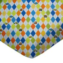 SheetWorld Fitted Portable / Mini Crib Sheet - Argyle Blue Transport - Made In USA