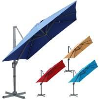 Blissun 10 x 10 ft Offset Umbrella, Hanging Patio Umbrella, Outdoor Cantilever Umbrella, Outside Market Umbrella with Easy Tilt for Garden, Backyard, Patio, Pool