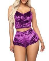 GOSO Women's Sexy Velvet 2 Piece Outfit Spaghetti Strap Crop Top+ Shorts Pajama Sets