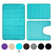 Buganda Memory Foam 3 Pieces Bathroom Rugs Set - Thick Soft Absorbent Non-Slip Bath Mats, Washable Small/Large/Contour Bath Rugs, Peacock Green