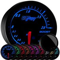 "GlowShift Elite 10 Color 2.0 BAR Boost/Vacuum Gauge Kit - Includes Electronic Pressure Sensor - Black Dial - Tinted Lens - Peak Recall Function - for Car & Truck - 2-1/16"" 52mm"