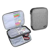 Luxja Carrying Bag for Cricut Pen Set and Basic Tool Set, Double-Layer Organizer for Cricut Accessories (Bag Only), Gray