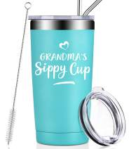 Grandma Gifts from Granddaughter Grandchildren, Grandma's Sippy Cup, Funny Mothers Day Christmas Best Grandmother Birthday Present from Grandson Grandkids for Best New Nana Granny Mom Tumbler Cup